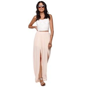 Kendal & Kylie Chiffon Pleated Maxi Skirt